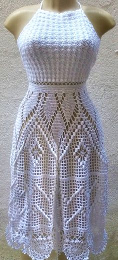 Knitting summer dress charts ideas for 2019 Crochet Skirt Pattern, Crochet Skirts, Crochet Blouse, Crochet Clothes, Crochet Top, Do It Yourself Fashion, Crochet Fashion, Filet Crochet, Lace Knitting