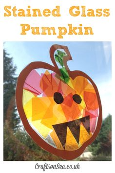 These Stained Glass Pumpkin Suncatchers are a cute Halloween craft for kids that can also be used to teach colour blending!