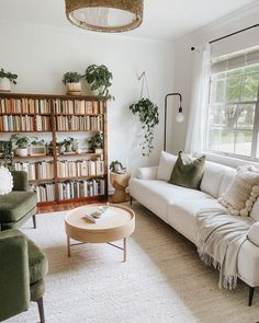 Boho Living Room, Home And Living, Living Spaces, Earthy Living Room, Cozy Living, Living Room No Tv, Simple Living Room, Living Room Decor Green Couch, Living Room With Plants