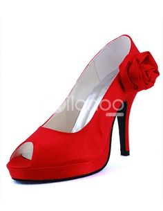 Gorgeous Red Satin Flower Decoration Peep Toe Wedding Shoes. Heel Height 9cm. See More Bridal Shoes at http://www.ourgreatshop.com/Bridal-Shoes-C919.aspx