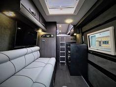 VW Crafter Sporthome - 4 Motion - Elevating Roof - Mclaren Sports Homes Ltd | Luxury Sporthome & Motorhome Conversions Vw Camper Conversions, Sprinter Conversion, Van Conversion Furniture, Black Rhino Wheels, Mercedes Sprinter Camper, Luxury Van, Vw Crafter, Van Living, Van Camping