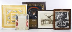 Lot 369: World War II Aviation Memento Assortment; Five items including a 1948 US Air Force plaque, US Air Corp framed pilot photograph, a Kimball aviation symbol printed scarf, a group pilot photograph and a patriotic frame