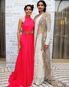 anjanana: m-c-m-prime: Frieda Pinto and Sonam Kapoor attend a L'oreal cocktail reception during the Annual Cannes Film Festival. god bless *cries* I adore high fashion cultural inspired fashion! Bride Reception Dresses, Bridal Dresses, Bridal Sarees, Indian Dresses, Indian Outfits, Indian Bridesmaids, India Fashion, High Fashion, Stylish Sarees