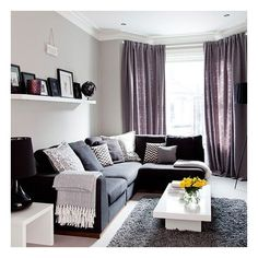Grey traditional living room with purple soft furnishings ❤ liked on Polyvore featuring home, furniture, grey furniture, purple furniture, traditional home furniture, gray furniture and traditional furniture