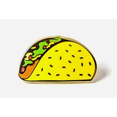 Pintrill Taco Pin ($12) ❤ liked on Polyvore featuring jewelry, brooches, pins, pin jewelry and pin brooch