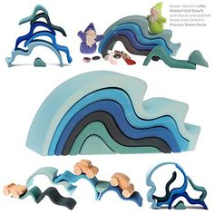 """! Grimm's Large WaterWaves Stacker - Nesting Wooden Wave Blocks, """"Elements"""" of Nature: WATER Grimm's Spiel and Holz Design"""