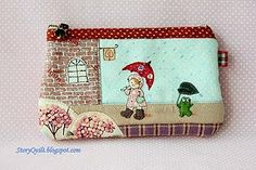 Rainy day in April pouch, Handmade zakka style purse   by STORY QUILT
