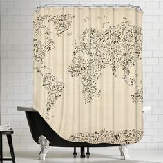 Americanflat Polyester Music Map Shower Curtain Allmodern Contemporary Cartography All Modern