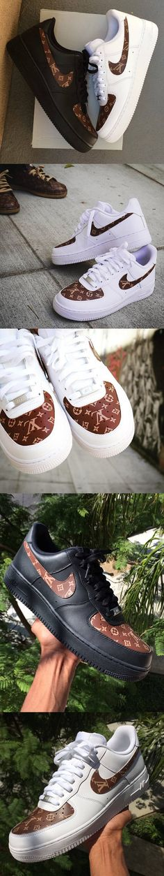 Custom Nike Air Force 1 - Brown LV Monogram Print