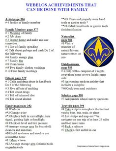 Akela's Council Cub Scout Leader Training: PRINTABLE & EDITABLE Webelos Achievements That Need To Be Done With The Family