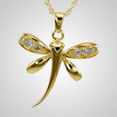 The Dragonfly Cremation Pendant has a beautiful gold plated finish. The cremation pendant is crafted by an artistic skilled jeweler. The quality is excellent and the craftsmanship is outstanding. This Keepsake Pendant holds a small amount of remains, a piece of hair or something that is small enough to memorialize your loved one and bring them close to your heart.
