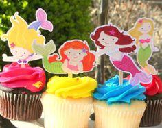 Mermaid Cupcake Toppers Set of 12