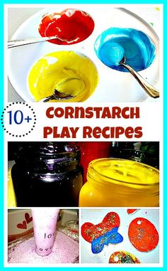 A fun collection of easy play recipes you can make now for your kiddos. Main ingredient - corn starch! Recipes for Sensory and art activities from www.blogmemom.com