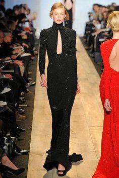 Karlie Kloss wearing Michael Kors Fall 2012 Long-Sleeve Gown