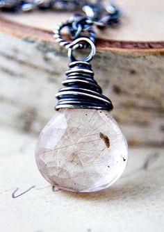 Rutilated Quartz Necklace Caramel Brown Stone Silver Pendant Rust Autumn Fall