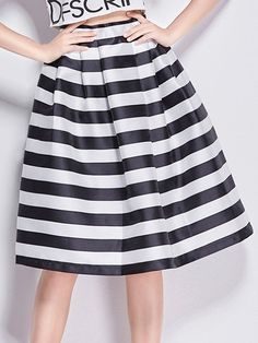 Awesome Striped Pleated Bubble Midi-skirts Midi Skirts from fashionmia.com