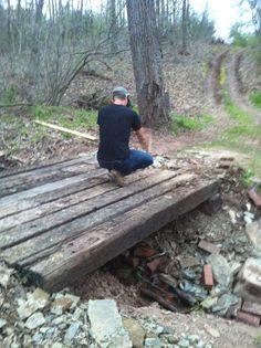 New bridge out of railroad ties for across crick
