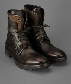 Chocolate brown leather lace up boots // John Varvatos Tahoe Boot