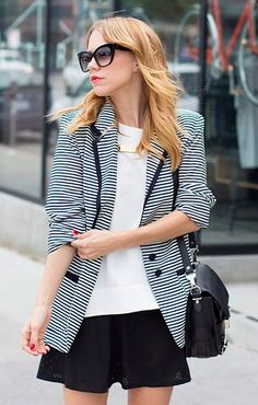 ed2428ffa4e Lovers + Friends striped blazer. Street-style.