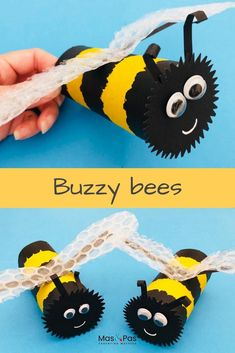 Youll bee buzzing about this lovely summer craft for kids. Transform toilet rolls into these brilliant buzzy bees with groovy bubble wrap wings. So quick and easy to make. A great summer holiday boredom buster for kids. Bee Crafts For Kids, Diy For Kids, Fun Crafts, Arts And Crafts, Toddler Crafts, Paper Roll Crafts, Cardboard Crafts, Toilet Roll Craft, Bee Wings