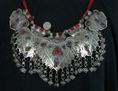 Afghan | Traditional Kashmiri Necklace with 5 Large Engraved and Bead-Studded Metal Pendants