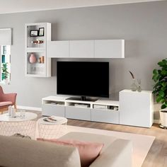 with showcase doors - white, Lappviken clear glass . mit Vitrinentüren – weiß, Lappviken Klarglas h'grau – IKEA Österreich BESTÅ TV comb. with showcase doors white, Lappviken clear glass gray - Living Room Tv Unit, Living Room Decor, Zen Living Rooms, Tv Wanddekor, Tv Wall Decor, Tv Wall Design, Ruang Tv, Tv Storage, Living Room Designs