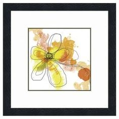 "Wall art with watercolor-style floral motif. Made in the USA.   Product: Wall art Construction Material: Acid-free paper, glass and natural wood frame    Features: Brings color to any wall of your home      Dimensions:  Unframed: 16"" H x 16"" W x 0.1"" DFramed: 22"" H x 22"" W x 1"" D"