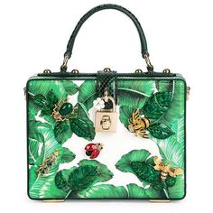 Dolce & Gabbana Tropical Box Bag ($3,995) ❤ liked on Polyvore featuring bags, handbags, apparel & accessories, green, locking purse, top handle handbags, dolce gabbana purses, leaf purse and top handle bags