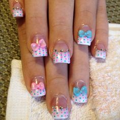 Dotted French manicure with bow & rhinestone accents (bridesmaids - we can use whatever 2 colors you pick as your wedding colors)
