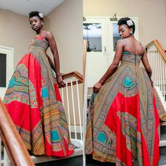 NEW Dashiki Dress African Print Strapless Maxi-Dress by Zoharous