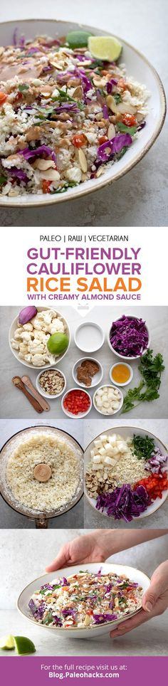 When youre craving a fresh healthy meal in a pinch reach for this quick salad packed with crunchy cauliflower a medley of raw veggies and creamy almond sauce. Paleo Salad Recipes, Paleo Recipes Easy, Low Carb Recipes, Whole Food Recipes, Paleo Food, Vegetarian Paleo, Paleo Diet, Veggie Recipes, Dinner Recipes