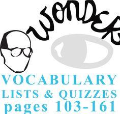 WONDER Palacio R.J. Novel Vocabulary List and Quiz (15 words, pgs 103-161)  NOVEL = Wonder by R.J. Palacio LEVEL = 5-12 COMMON CORE = CCSS.ELA-Lite...