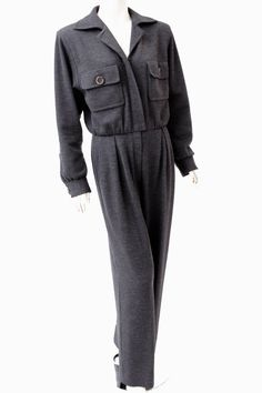 9b9ebcc7 Yves Saint Laurent Rive Gauche Charcoal Wool Jumpsuit with Chest Pockets sz  40