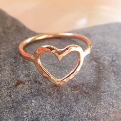 Heart Ring, 14k Gold Fill or Sterling Silver, Love, Valentines Day Gift, Sweetheart, CUSTOM Order, Hammered, Anniversary, Handmade via Etsy