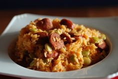 """This Cape Verde side called Jagacida is simply known as """"Jag"""". There are many versions of this dish so you can get as creative as you would like. Depending on how many things you add, it could easily work as a nice lunch as well. Verde Recipe, Portuguese Rice, Portuguese Recipes, Linguica Recipes, Cape Verde Food, Rice Dishes, Main Dishes, Hamburg, Cooking"""