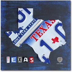 Trademark Fine Art 'Texas License Plate Map' Canvas Art by Design Turnpike, Size: 14 x 14, Blue