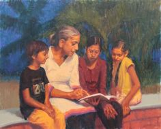 ARTFINDER: Evening Study by Snehal Page - Three girls learning from a teacher are painted with the background of evening sky and pam trees.  Special Diwali offer - Use discount code - SNEHAL-PAGE-1...