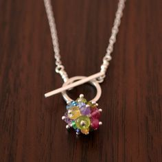 Rainbow Toggle Necklace Sterling Silver Real by livjewellery
