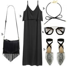 Wardrobe Wednesday: Summer Blackout | A black maxi dress paired with fringe cross body bag, choker necklace, snake print mules, and sunglasses via @southernflairblog