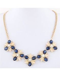 Czech Rhinestone and Opal Stone Shining Flower Cluster Golden Alloy Fashion Necklace