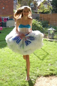 Plastic -Bag-Dress. Every teenager should make one and have a world wide plastic bag clothing day.