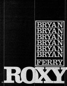 Roxy Music, Bryan Ferry. Typografie.