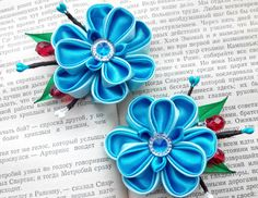 Set of two blue flower hair clips/Kanzashi flower/Kanzashi hair clip/Kanzashi fabric flowers/Flower girl gifts   Flower is about 1,97 inches  Ready