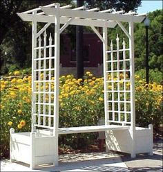 planter box trellis seat - want this for the patio, with climbing roses or passion flower vines