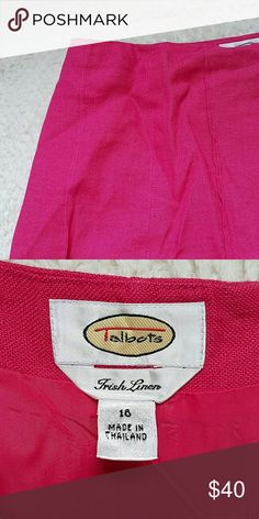 "Talbots Irish Linen Skirt Pink Talbots Irish Linen skirt. So cute and feminine!! Just below the knee and measures 22.5"" long and waist is 34"". A wonderful staple for your wardrobe! Talbots Skirts"