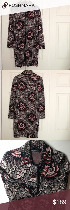 Peruvian Connection Sweater Coat NWOT Gorgeous Peruvian Connection 100% Pima Cotton Sweater Coat in Beautiful Floral Black, Burgandy, and Cream Colors. Has Collar, Six Button Front Closure, and Front Flap Pockets. Hits Below the Knee. Extremely Well Made and Absolutely Perfect for Autumn. Fine Quality. NWOT. Peruvian Connection Sweaters