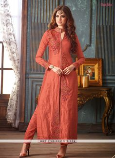 Delightsome Embroidered Work Orange Banarasi Silk Pant Style Suit  Email - support@ethnicoutfits.com Call/What's app - +918141377746