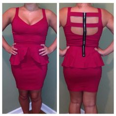 Red Peplum Dress Shorter than it looks! Perfect little dress with a caged back with zipper. Fits very true to size. Never worn Paper Doll Dresses