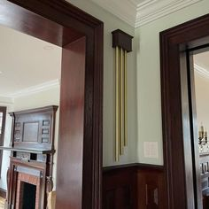 Thanks for all your help Robert! Just wanted to show you the finished product which we stained to beautifully complement our trim! ~Hendrik K., Newport, Rhode Island Doorbell Cover, Tubular Bells, Doorbells, Hardwood, Doors, This Or That Questions, Mirror, Rhode Island