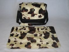 Country Western Diaper Bag in Faux Fur Brown and Beige Cow print. With Matching Changing pad / nap mat. Get Details:  www.isidoradesigns.etsy.com